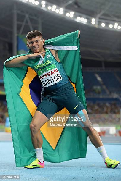 Petrucio Ferreira Dos Santos of Brazil celebrates after completing the Men's 400m T47 Final during day 10 of the Rio 2016 Paralympic Games at the...