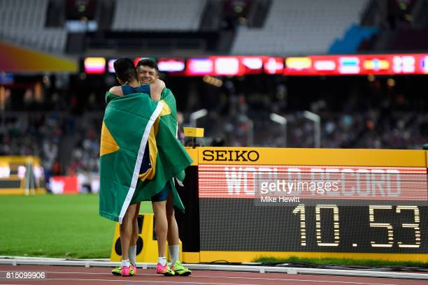 Petrucio Ferreira dos Santos of Brazil celebrates setting a new world record in the Men's 100m T47 Final during Day Two of the IPC World...