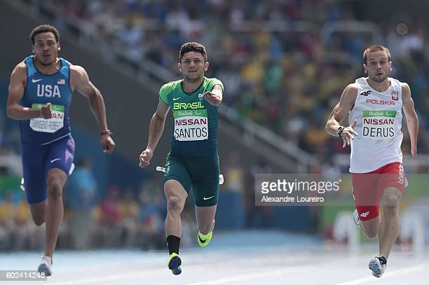 Petrucio Ferreira dos Santos of Brazil competes in the Men's100 meter T47 final at Olympic Stadium during day 4 of the Rio 2016 Paralympic Games at...