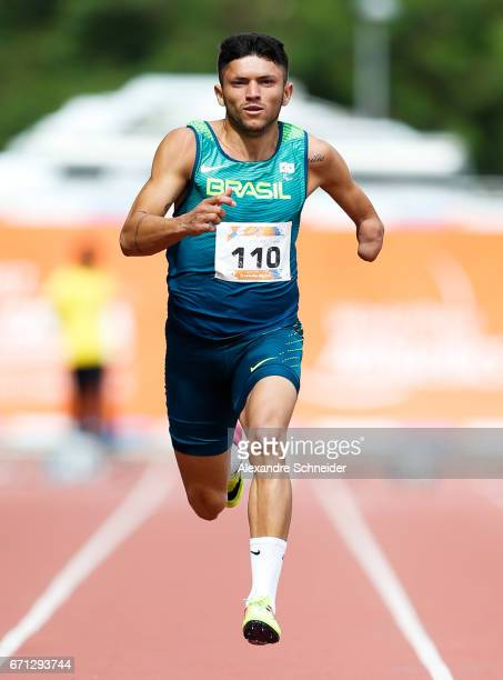 Petrucio Ferreira dos Santos of Brazil in action during the 100 meters mens finals at Brazilian Paralympic Training Center during day one of the 2017...