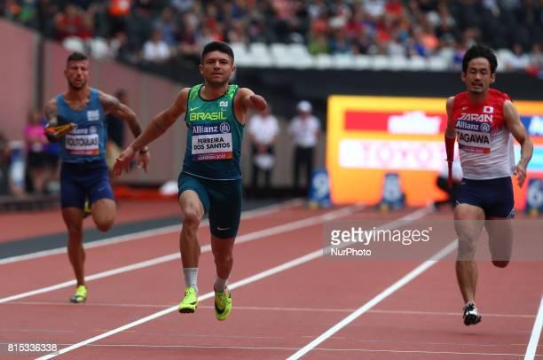 Petrucio Ferreira dos Santos of Brazil Men's 100m T47 Round 1 Heat 2 during IPC World Para Athletics Championships at London Stadium in London on...