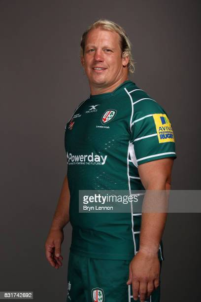 Petrus Du Plessis of London Irish poses for a portrait during the London Irish squad photo call for the 20172018 Aviva Premiership Rugby season on...