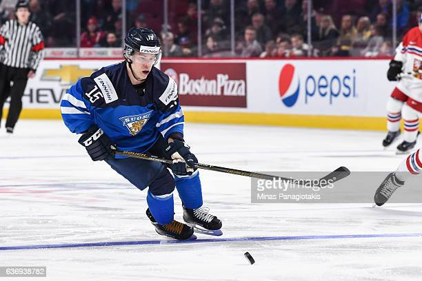 Petrus Palmu of Team Finland skates after the puck during the IIHF World Junior Championship preliminary round game against Team Czech Republic at...