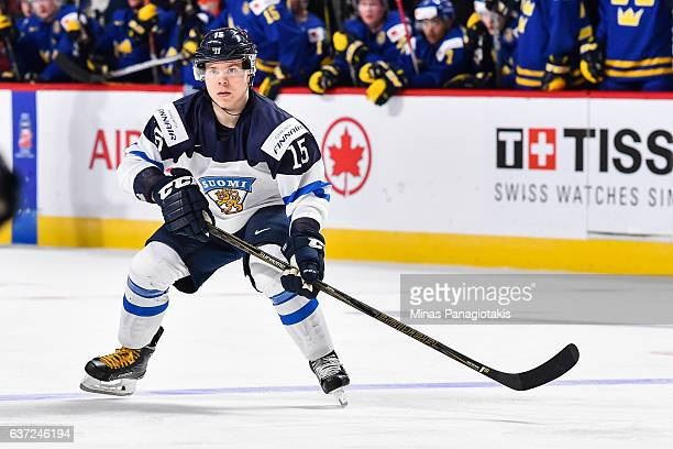 Petrus Palmu of Team Finland skates during the 2017 IIHF World Junior Championship preliminary round game against Team Sweden at the Bell Centre on...