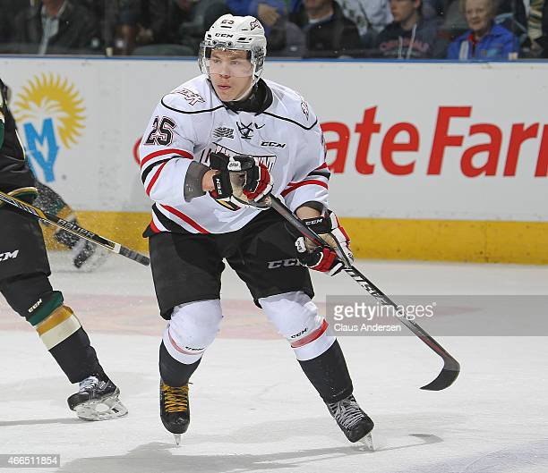 Petrus Palmu of the Owen Sound Attack skates against the London Knights during an OHL game at Budweiser Gardens on March 13 2015 in London Ontario...