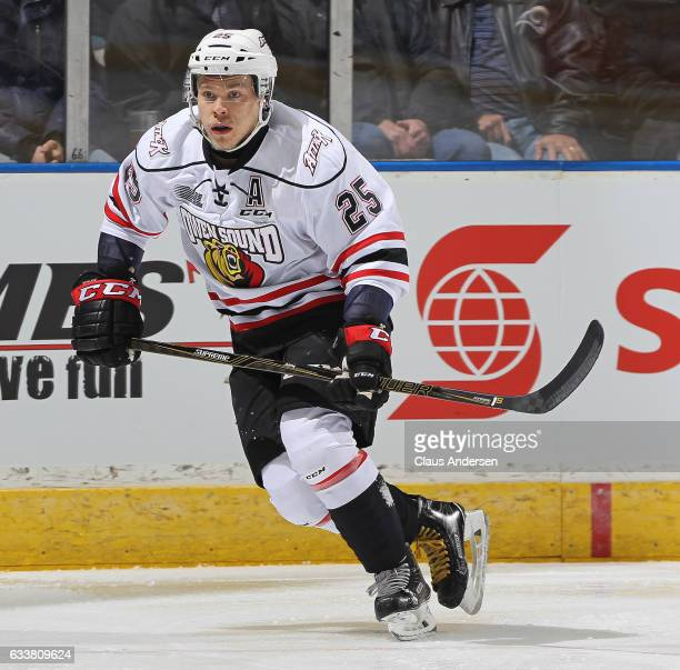 Petrus Palmu of the Owen Sound Attack skates against the London Knights during an OHL game at Budweiser Gardens on February 3 2017 in London Ontario...