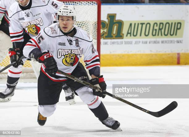 Petrus Palmu of the Owen Sound Attack skates against the London Knights during an OHL game at Budweiser Gardens on February 17 2017 in London Ontario...