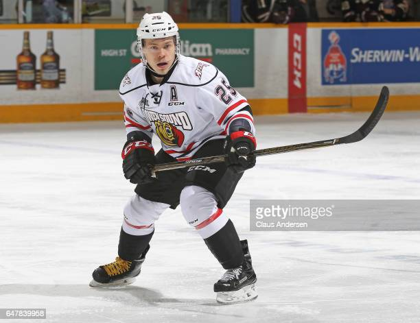 Petrus Palmu of the Owen Sound Attack skates against the Peterborough Petes during an OHL game at the Peterborough Memorial Centre on March 2 2017 in...