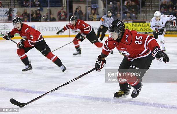 Petrus Palmu of the Owen Sound Attack skates up the ice during an OHL game between the Owen Sound Attack and the Niagara IceDogs at the Meridian...