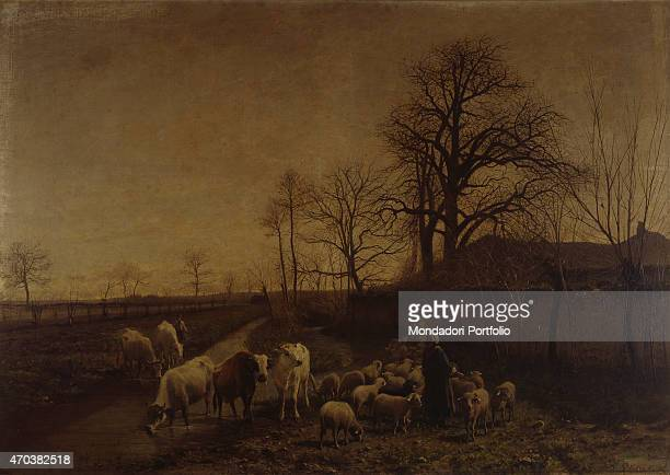 'Pets ducts to water by Charles Pittara 19th century oil on canvas Italy Lombardy Milan Brera Collection Whole artwork view Landscape with river cows...