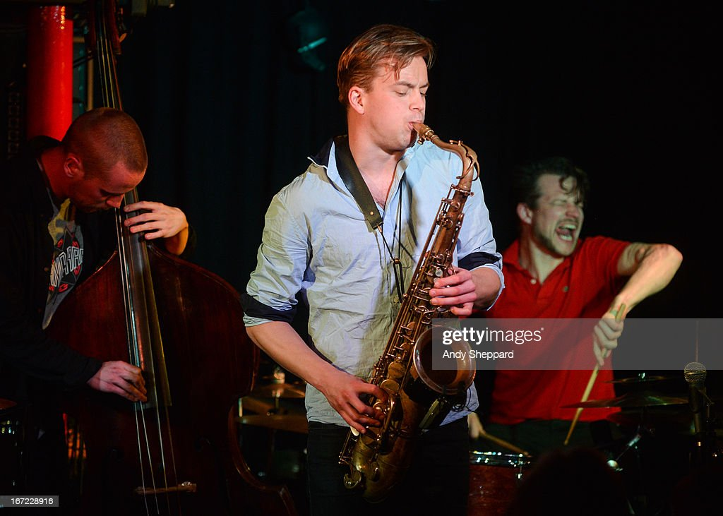 Petter Eldh, Marius Neset and Anton Eger perform on stage at Pizza Express Jazz Club on April 22, 2013 in London, England.