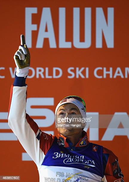 Petter Jr Northug of Norway celebrates winning the gold medal after the Men's CrossCountry Sprint Final during the FIS Nordic World Ski Championships...