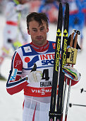 Petter Jr Northug of Norway celebrates winning the gold medal during the Men's 50km Mass Start CrossCountry during the FIS Nordic World Ski...