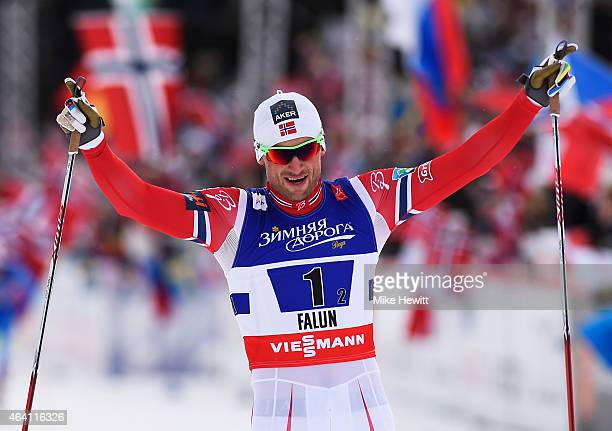 Petter Jr Northug of Norway celebrates winning the gold medal in the Men's CrossCountry Team Sprint Final during the FIS Nordic World Ski...