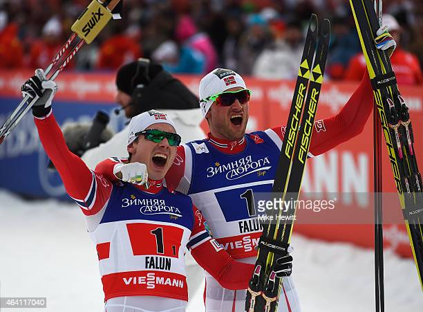 Petter Jr Northug of Norway celebrates winning the gold medal with team mate Finn Haagen Krogh in the Men's CrossCountry Team Sprint Final during the...