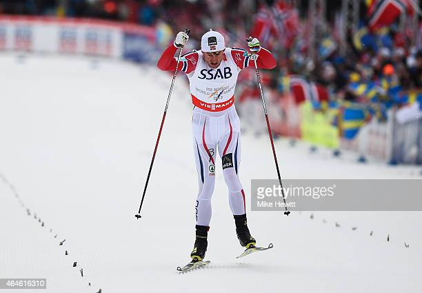 Petter Jr Northug of Norway competes on the way to winning the gold medal in the Men's 4 x 10km CrossCountry Relay during the FIS Nordic World Ski...