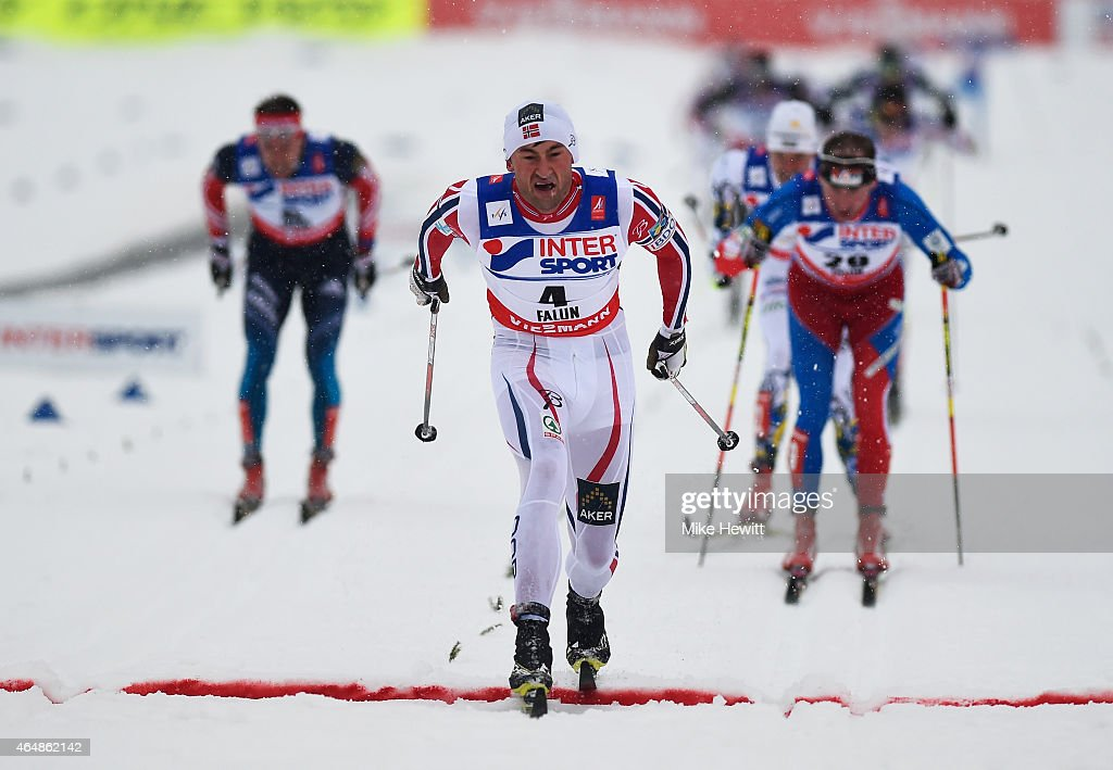 Petter Jr. Northug of Norway crosses the line to win the gold medal during the Men's 50km Mass Start Cross-Country during the FIS Nordic World Ski Championships at the Lugnet venue on March 1, 2015 in Falun, Sweden.