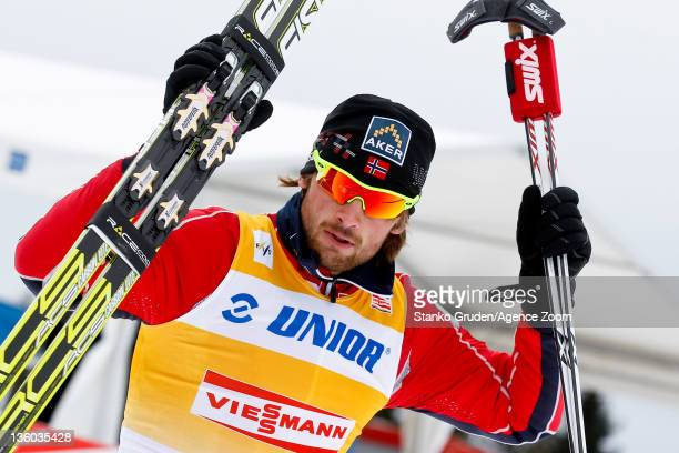Petter jr Northug of Norway takes 1st place during the FIS Cross Country World Cup Men's 15km Mass Start on December 17 2011 in Rogla Slovenia