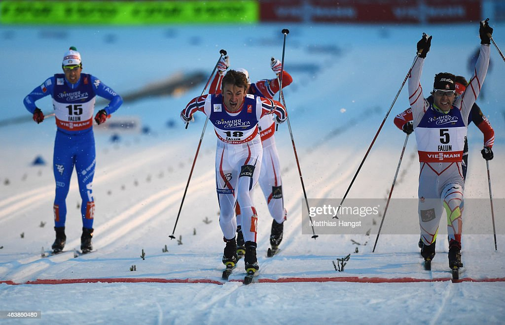 Petter Jr. Northug of Norway (C) wins the gold medal from silver medallist <a gi-track='captionPersonalityLinkClicked' href=/galleries/search?phrase=Alex+Harvey+-+Skier&family=editorial&specificpeople=6719953 ng-click='$event.stopPropagation()'>Alex Harvey</a> (R) of Canada during the Men's Cross-Country Sprint Final during the FIS Nordic World Ski Championships at the Lugnet venue on February 19, 2015 in Falun, Sweden.
