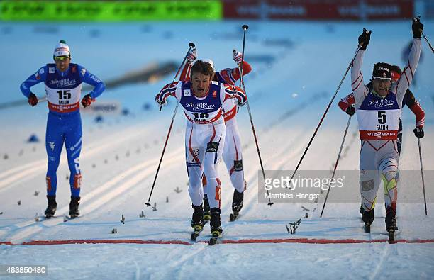 Petter Jr Northug of Norway wins the gold medal from silver medallist Alex Harvey of Canada during the Men's CrossCountry Sprint Final during the FIS...