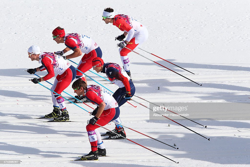<a gi-track='captionPersonalityLinkClicked' href=/galleries/search?phrase=Petter+Northug&family=editorial&specificpeople=800847 ng-click='$event.stopPropagation()'>Petter Northug</a> Jr. of Norway, <a gi-track='captionPersonalityLinkClicked' href=/galleries/search?phrase=Alexander+Legkov&family=editorial&specificpeople=4037875 ng-click='$event.stopPropagation()'>Alexander Legkov</a> of Russia, <a gi-track='captionPersonalityLinkClicked' href=/galleries/search?phrase=Martin+Johnsrud+Sundby&family=editorial&specificpeople=4668146 ng-click='$event.stopPropagation()'>Martin Johnsrud Sundby</a> of Norway, <a gi-track='captionPersonalityLinkClicked' href=/galleries/search?phrase=Chris+Andre+Jespersen&family=editorial&specificpeople=7355005 ng-click='$event.stopPropagation()'>Chris Andre Jespersen</a> of Norway and Alex Harvey of Canada compete in the Men's 50 km Mass Start Free during day 16 of the Sochi 2014 Winter Olympics at Laura Cross-country Ski & Biathlon Center on February 23, 2014 in Sochi, Russia.