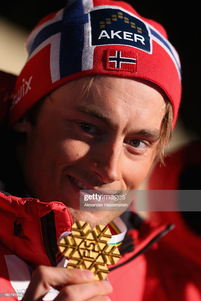 Petter Northug Jr. of Norway celebrates with his Gold medal at the medal ceremony for the Men's Cross Country Individual 15km at the FIS Nordic World Ski Championships on February 27, 2013 in Val di Fiemme, Italy.
