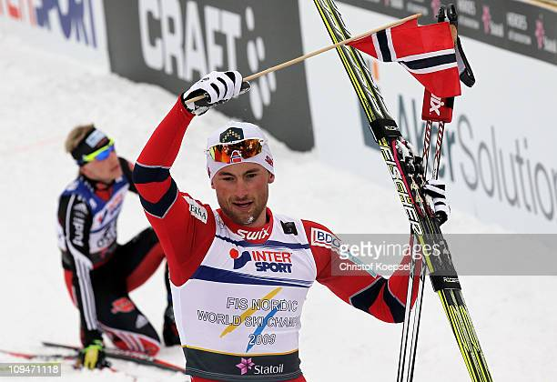 Petter Northug of Norway celebrates after winning the gold medal in the Men's Cross Country 30km Pursuit race during the FIS Nordic World Ski...