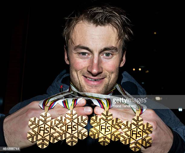 Petter Northug of Norway celebrates with his 4 gold medals during the FIS Nordic World Ski Championships on March 01 2015 in Falun Sweden