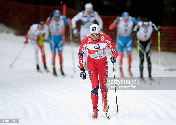Petter Northug of Norway competes in the Men's 15km Classic Pursuit at the FIS Cross Country World Cup event at DKB Ski Arena on December 30 2012 in...