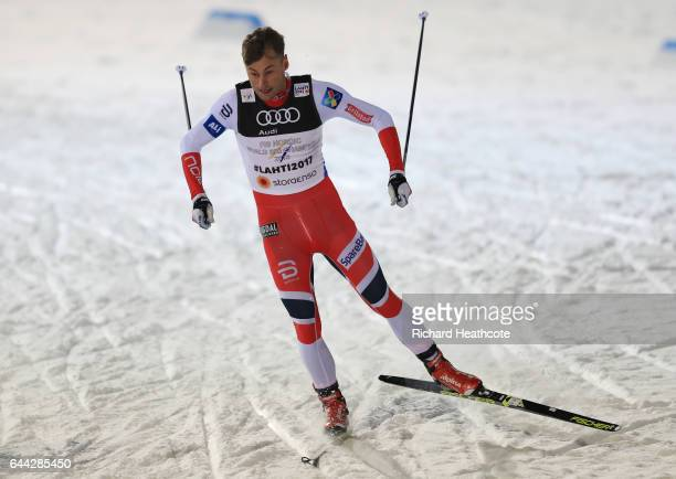 Petter Northug of Norway competes in the Men's 16KM Cross Country Sprint final during the FIS Nordic World Ski Championships on February 23 2017 in...