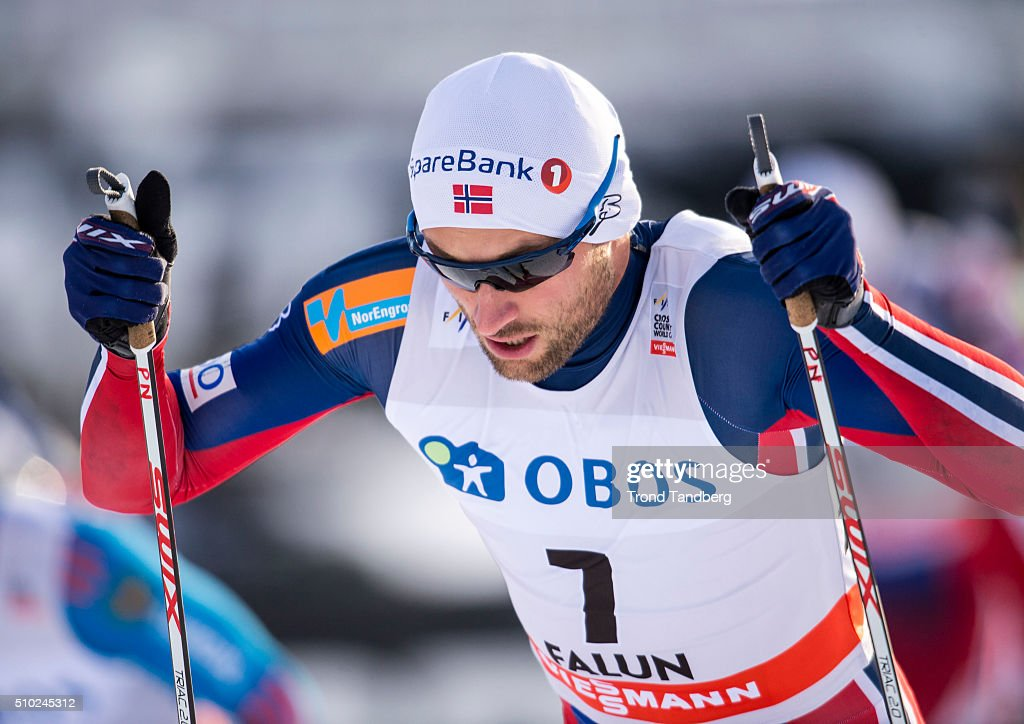 Petter Northug of Norway during Cross Country Men 15.0 km Mass Start Free on February 14, 2016 in Falun, Sweden.