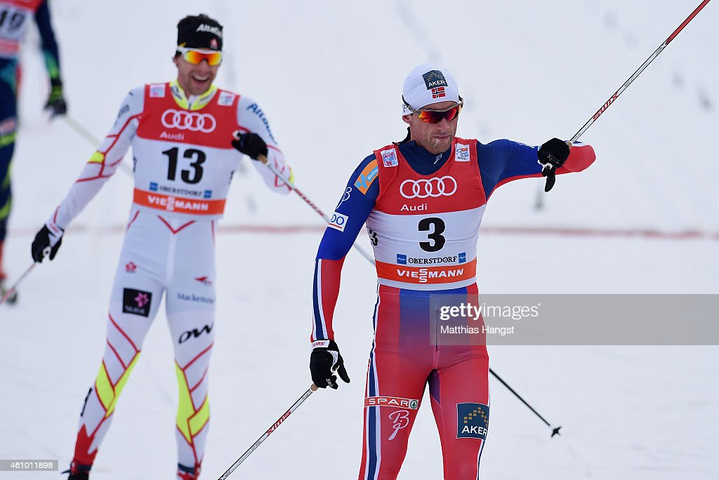 <a gi-track='captionPersonalityLinkClicked' href=/galleries/search?phrase=Petter+Northug&family=editorial&specificpeople=800847 ng-click='$event.stopPropagation()'>Petter Northug</a> (R) of Norway reacts after winning the Men's 15 km Pursuit Classic event for the FIS Cross Country World Cup Tour de Ski on January 4, 2015 in Oberstdorf, Germany.