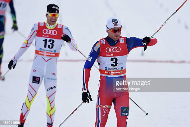 Petter Northug of Norway reacts after winning the Men's 15 km Pursuit Classic event for the FIS Cross Country World Cup Tour de Ski on January 4 2015...