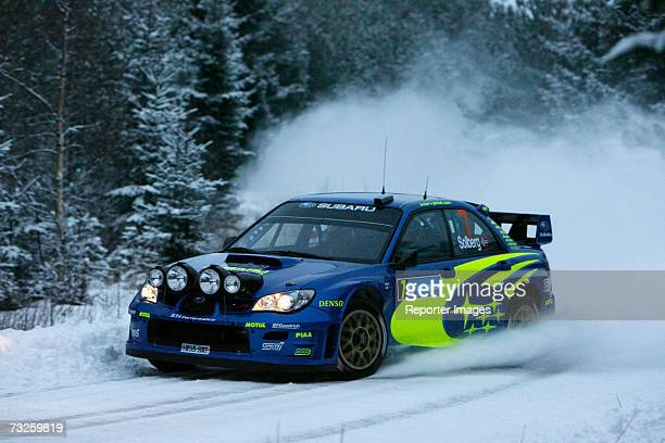 Petter Solberg and Philip Mills drive Subaru Impreza WRC 2006 A/8 during the Uddeholm Swedish Rally 2007 February 8 2007 in Hagfors Sweden
