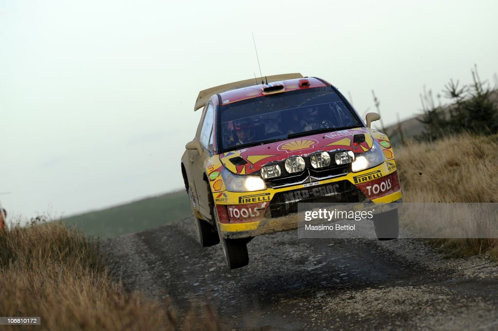 <a gi-track='captionPersonalityLinkClicked' href=/galleries/search?phrase=Petter+Solberg&family=editorial&specificpeople=204731 ng-click='$event.stopPropagation()'>Petter Solberg</a> of Norway and Chris Patterson of Great Britain compete in their Citroen C4 during Leg 2 of the WRC Wales Rally GB on November 13, 2010 in Cardiff, Wales.