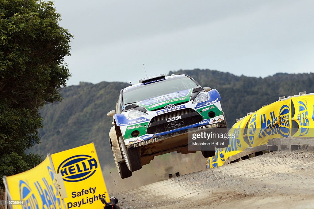 <a gi-track='captionPersonalityLinkClicked' href=/galleries/search?phrase=Petter+Solberg&family=editorial&specificpeople=204731 ng-click='$event.stopPropagation()'>Petter Solberg</a> of Norway and Chris Patterson of Great Britain compete in their Ford WRT Ford Fiesta RS WRC during Day Two of the WRC Rally New Zealand on June 23, 2012 in Auckland , New Zealand