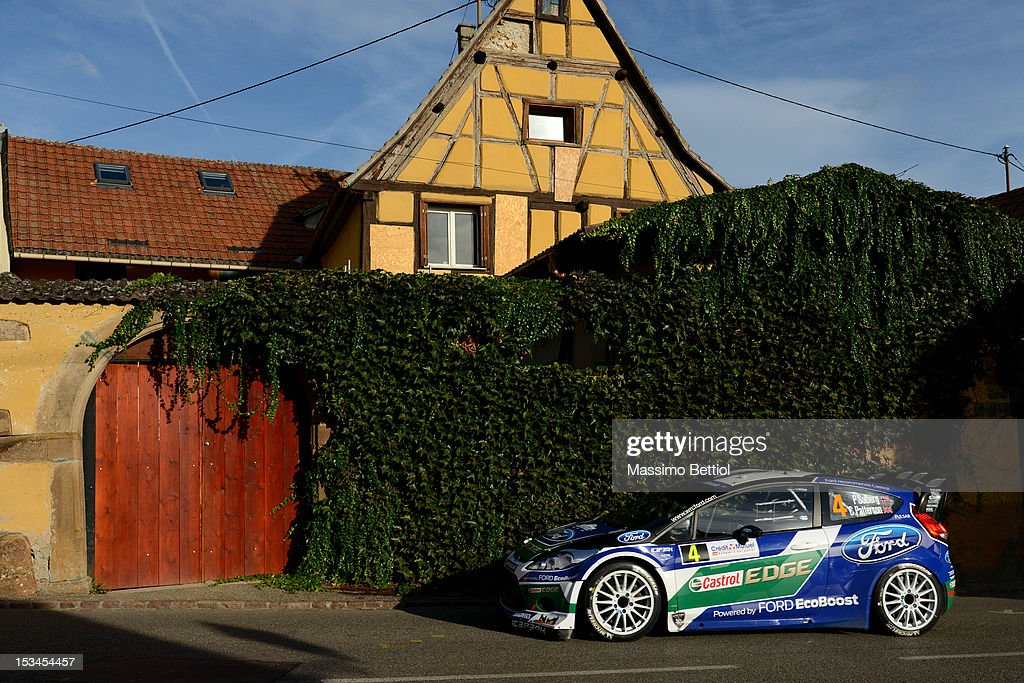 Petter Solberg of Norway and Chris Patterson of Great Britain compete in their Ford WRT Ford Fiesta RS WRC during Day One of the WRC Rally of France on October 05, 2012 in Strasbourg, France.
