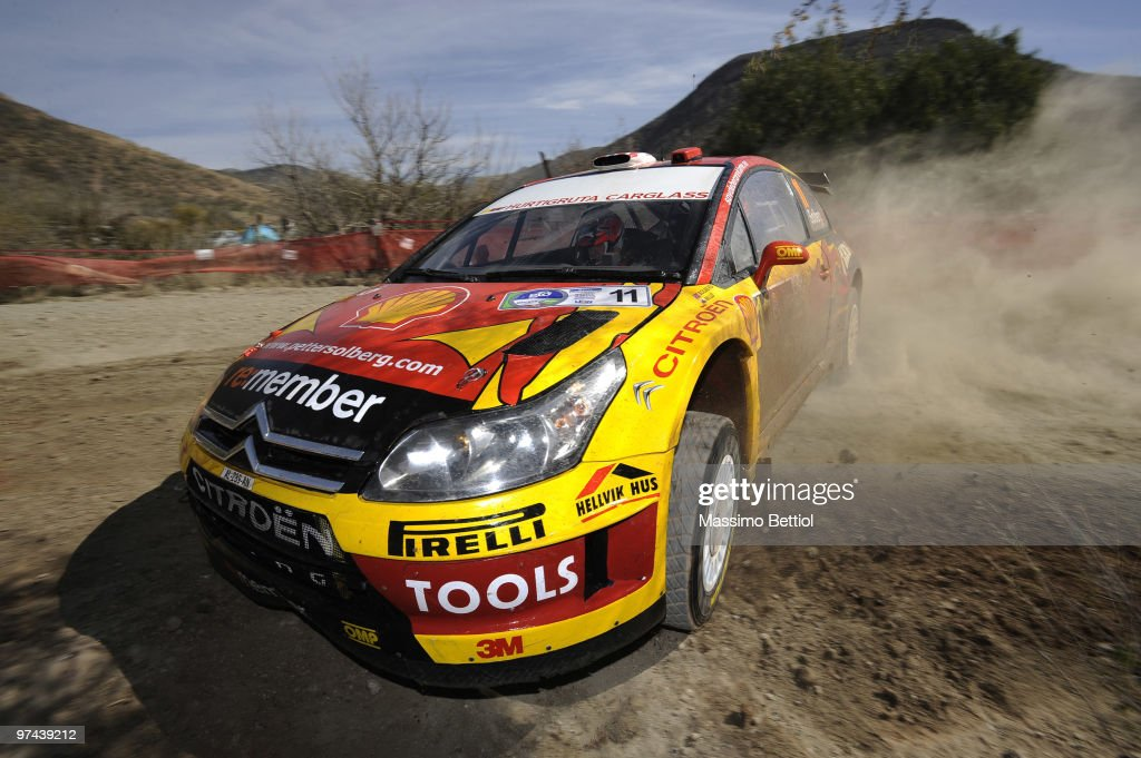 <a gi-track='captionPersonalityLinkClicked' href=/galleries/search?phrase=Petter+Solberg&family=editorial&specificpeople=204731 ng-click='$event.stopPropagation()'>Petter Solberg</a> of Norway and <a gi-track='captionPersonalityLinkClicked' href=/galleries/search?phrase=Phil+Mills&family=editorial&specificpeople=217314 ng-click='$event.stopPropagation()'>Phil Mills</a> of Great Britain compete in their Citroen C4 during the Shakedown of the WRC Rally Mexico on March 4, 2010 in Leon, Mexico.