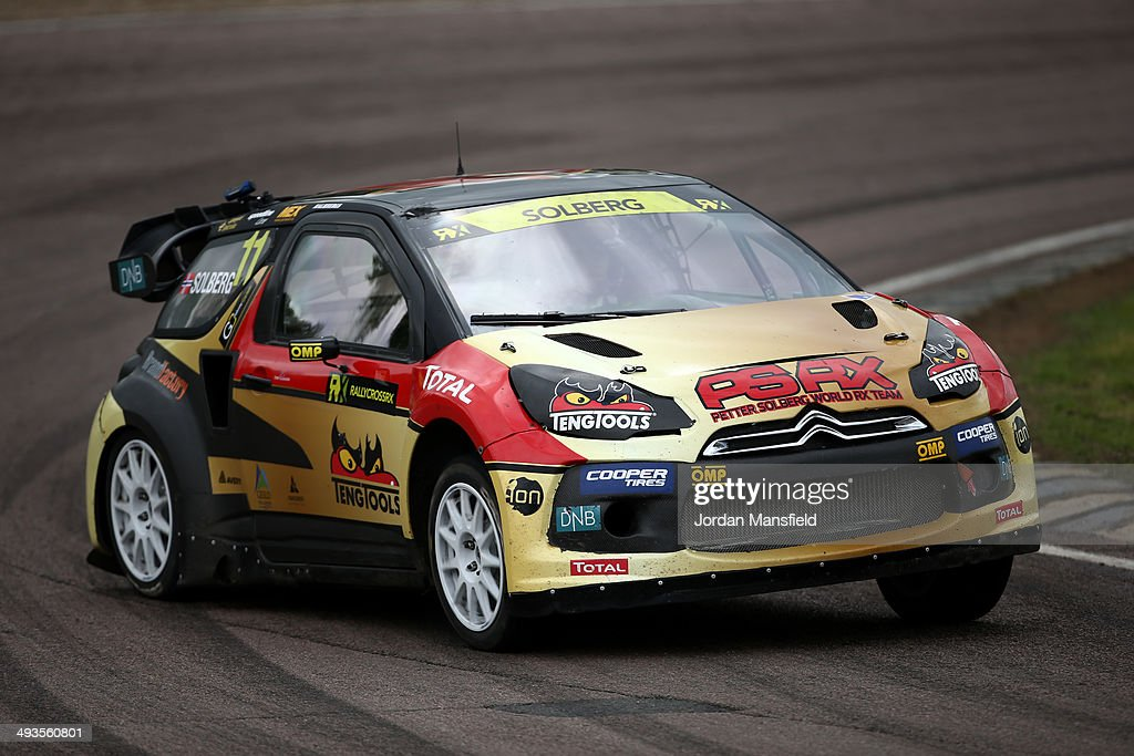 <a gi-track='captionPersonalityLinkClicked' href=/galleries/search?phrase=Petter+Solberg&family=editorial&specificpeople=204731 ng-click='$event.stopPropagation()'>Petter Solberg</a> of Norway drives during the FIA World Rallycross Championship at Lydden Hill Circuit on May 24, 2014 in Canterbury, England.