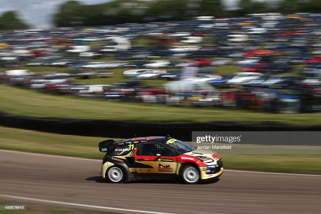 <a gi-track='captionPersonalityLinkClicked' href=/galleries/search?phrase=Petter+Solberg&family=editorial&specificpeople=204731 ng-click='$event.stopPropagation()'>Petter Solberg</a> of Norway drives during the FIA World Rallycross Championship at Lydden Hill Circuit on May 25, 2014 in Canterbury, England.