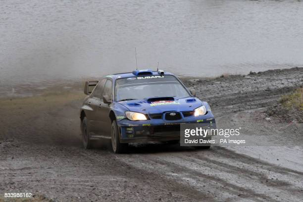 Petter Solberg of Norway in the Subaru Impreza WRC in Walters Arena on the Rheola Special Stage of the Wales Rally GB during the FIA World Rally...