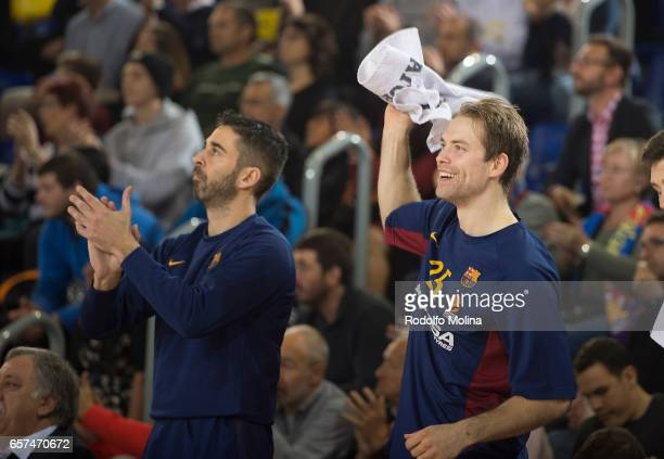 Petteri Koponen #25 of FC Barcelona Lassa and Juan Carlos Navarro #11 celebrates during the 2016/2017 Turkish Airlines EuroLeague Regular Season...