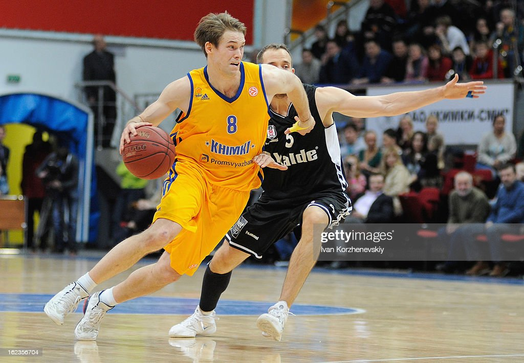 Petteri Koponen, #8 of BC Khimki Moscow Region competes with Muratcan Guler, #5 of Besiktas JK Istanbul during the 2012-2013 Turkish Airlines Euroleague Top 16 Date 8 between BC Khimki Moscow Region v Besiktas JK Istanbul at Basketball Center of Moscow on February 22, 2013 in Moscow, Russia.