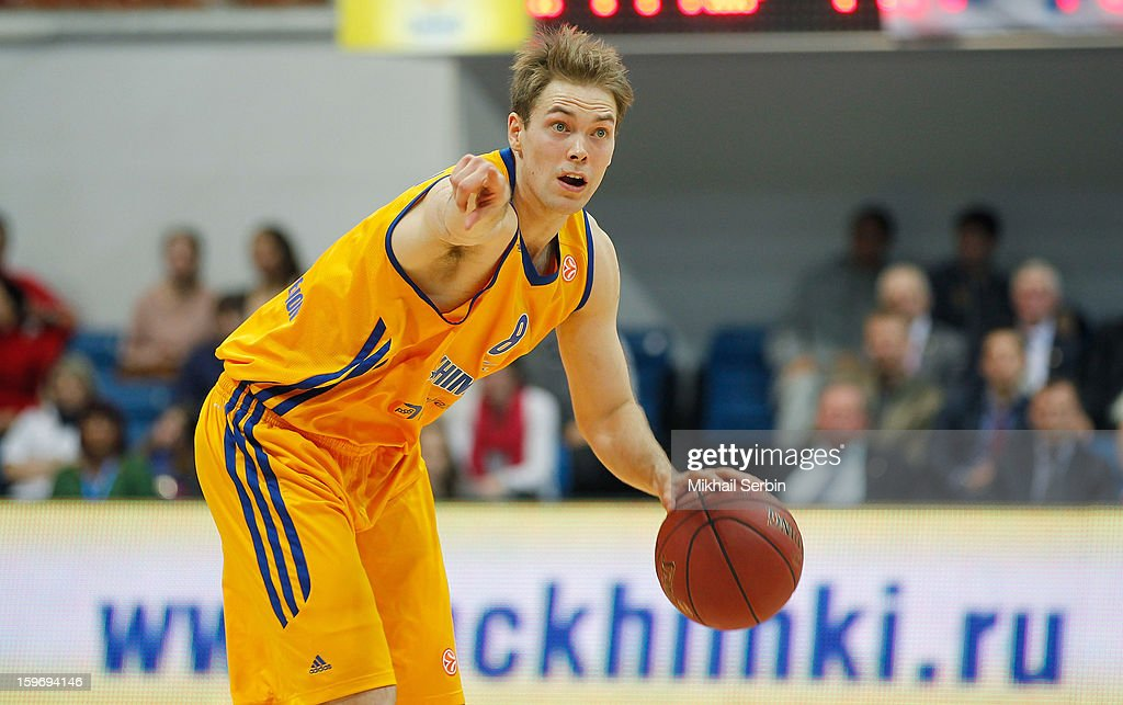 Petteri Koponen, #8 of BC Khimki Moscow Region in action during the 2012-2013 Turkish Airlines Euroleague Top 16 Date 4 between BC Khimki Moscow Region v Maccabi Electra Tel Aviv at Basketball Center of Moscow Region on January 18, 2013 in Moscow, Russia.
