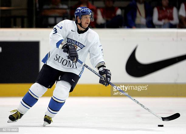 Petteri Nummelin of Finland in action against the Ukraine in the IIHF World Men's Championships preliminary round game at the Olympic Hall on May 2...