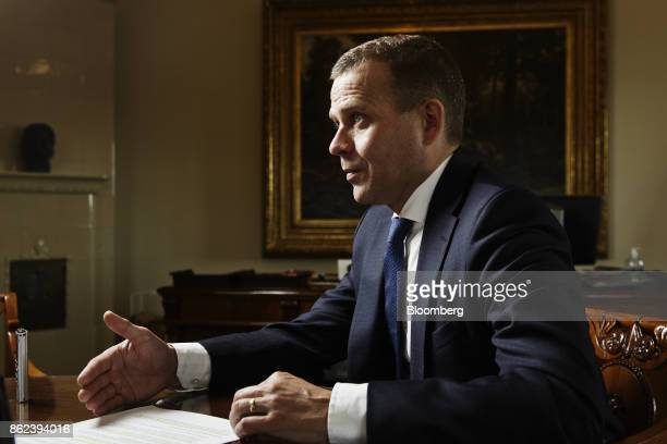Petteri Orpo Finland's finance minister gestures as he speaks during an interview in Helsinki Finland on Wednesday Sept 27 2017 'Finland has an even...