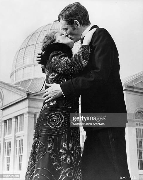 Petula Clark and Peter O'Toole seal their love with a kiss in a scene from the film 'Goodbye Mr Chips' 1969