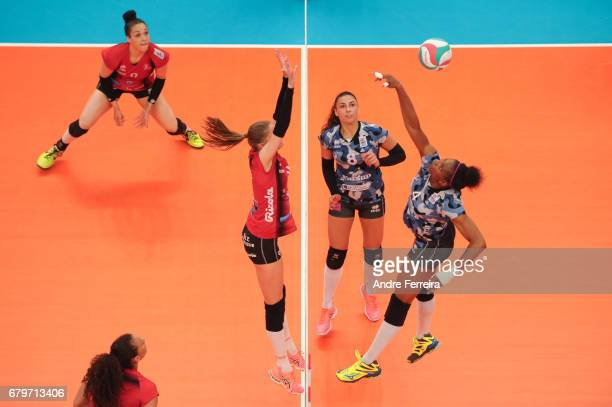 Petya Barakova of Le Cannet and Marie France Garreau Dje of Le Cannet during the Ligue A Final between ASPTT Mulhouse and Le Cannet at Salle Pierre...