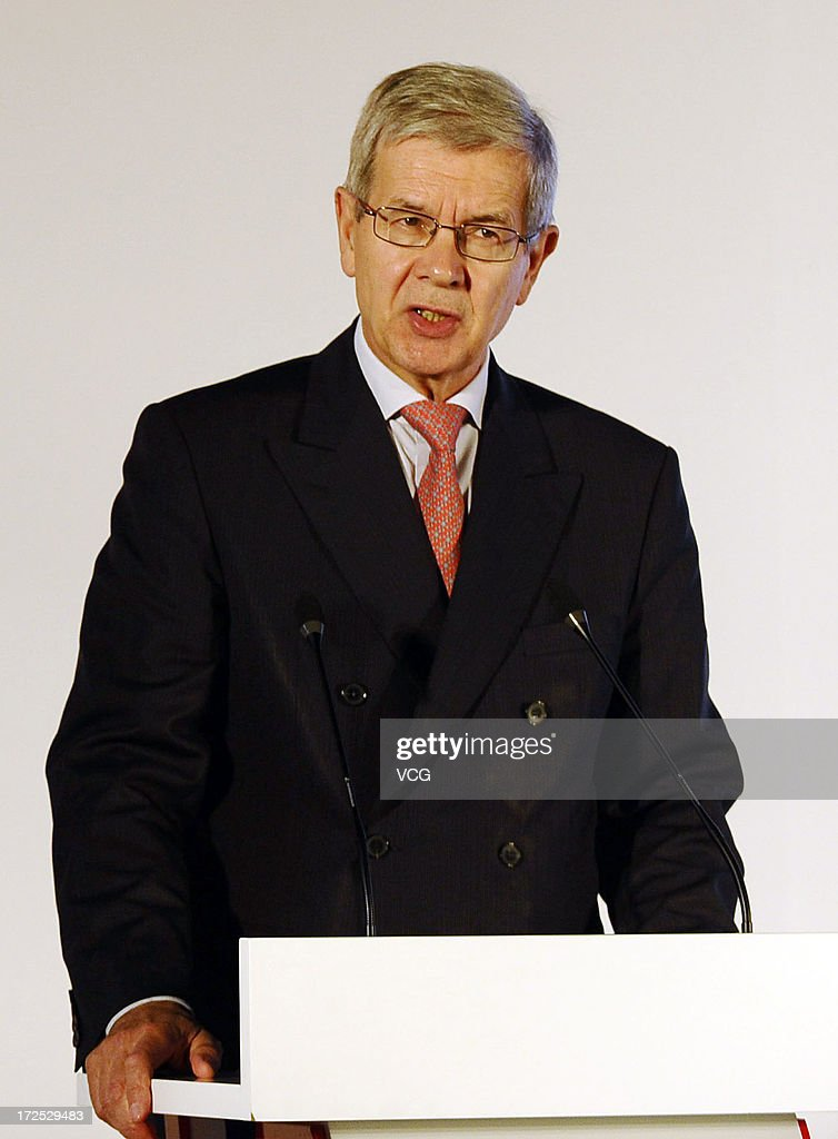 PSA Peugeot Citroen Chairman <a gi-track='captionPersonalityLinkClicked' href=/galleries/search?phrase=Philippe+Varin&family=editorial&specificpeople=3954311 ng-click='$event.stopPropagation()'>Philippe Varin</a> speaks during the opening ceremony of the third plant of Dongfeng Peugeot Citroen Automobile Co., Ltd (DPCA) on July 2, 2013 in Wuhan, China. The third plant of DPCA, a joint venture between the French automaker PSA Peugeot Citroen and the Chinese automaker Dongfeng Motor Corp., was put into operation on Tuesday, with initial capacity of 150,000 cars a year.