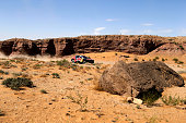 Peugeot Sport team Cyril Despres and copilot David Castera race across Inner Mongolia's Gobi desert ending the 13th special stage of the Silkway...